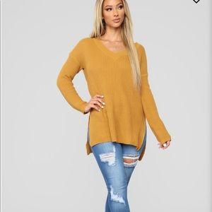 oversized high-low sweater- mustard